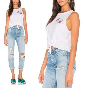 Chaser Sorry I Can't Tank in White Top Tee New M